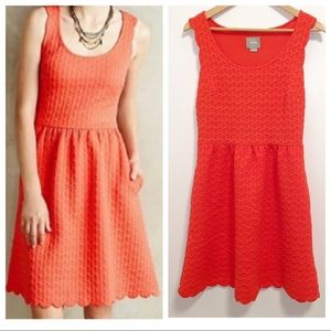 Anthropologie Maeve Caye Orange Scalloped Dress- M